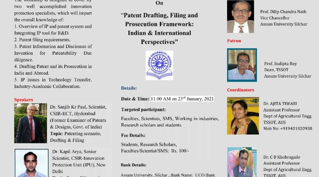 """IP Radio - One Day Online National workshop On """"Patent Drafting, Filing and Prosecution Framework: Indian & International Perspectives"""""""