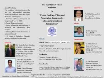 "IP Radio - One Day Online National workshop On ""Patent Drafting, Filing and Prosecution Framework: Indian & International Perspectives"""