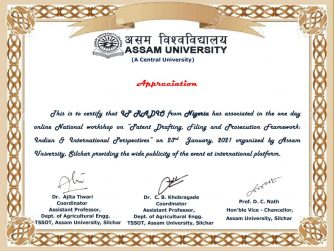 Certificate of Appreciation for IP Radio Station from ASSAM UNIVERSITY, India. IPRADIODIGITAL